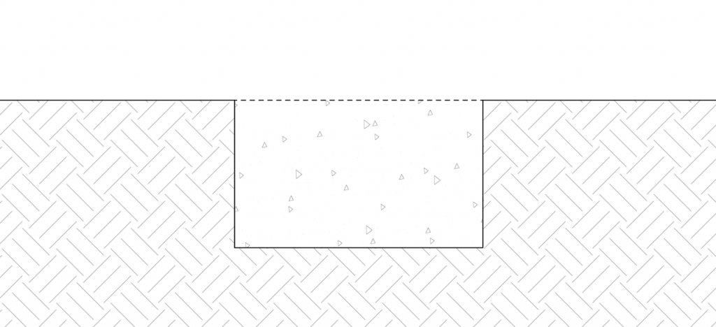 Diagram of the site being filled with concrete