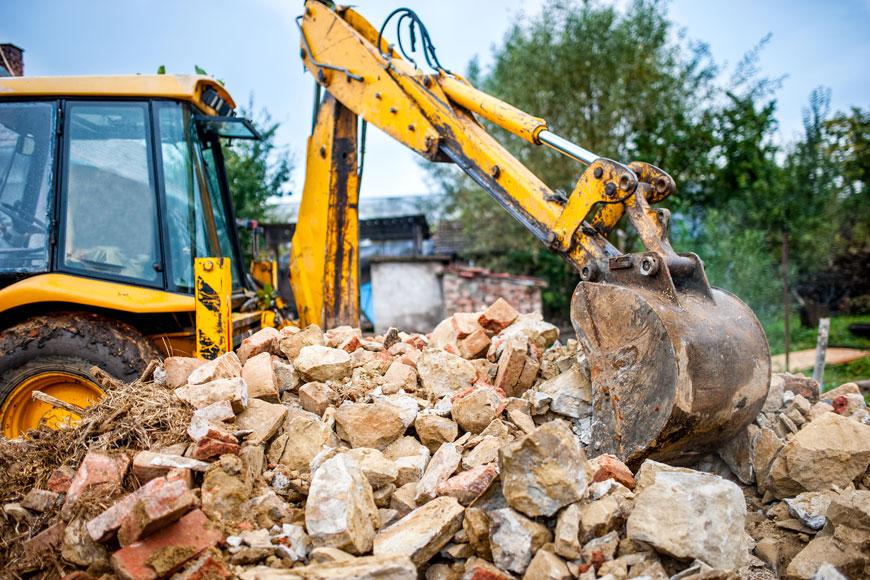 Demolition site preparing concrete for recycling