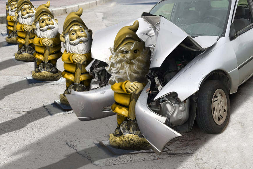 A car crashes into an angry looking yellow bollard gnome while other happy gnomes look on