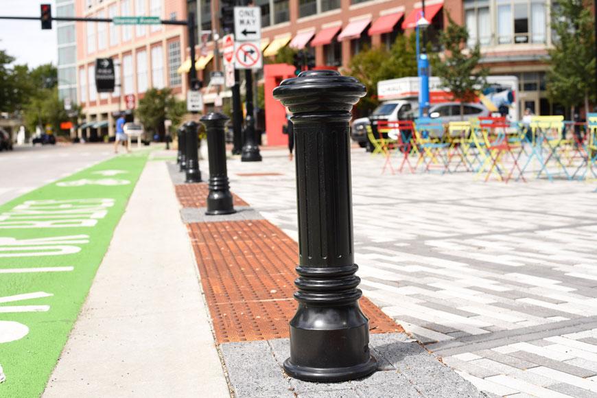 Classic decorative bollards help define a public square in Evanston