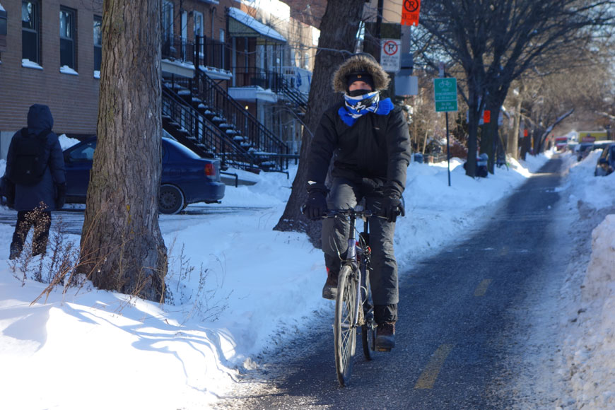 A man in warm coat and scarf cycles down a plowed and salted two-way bike lane in Montreal