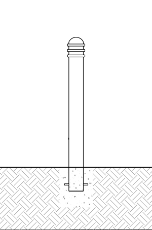 Diagram showing a decorative bollard with embedded mountings in new concrete