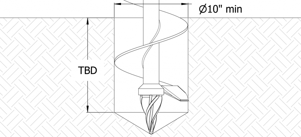 Diagram showing an auger digging a hole with a 10 inch diameter and TBD depth