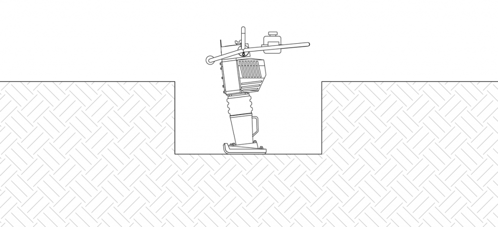 Diagram showing a dirt tamper compacting the soil