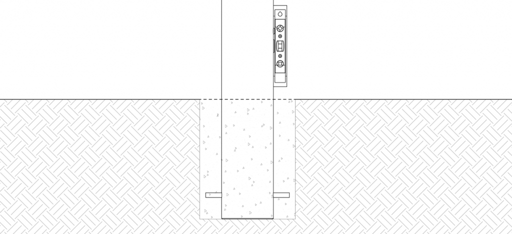 Diagram showing the bollard in new concrete with a level against the side of the bollard
