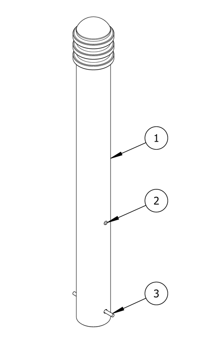 Diagram showing a parts list for decorative bollard with embedded mountings