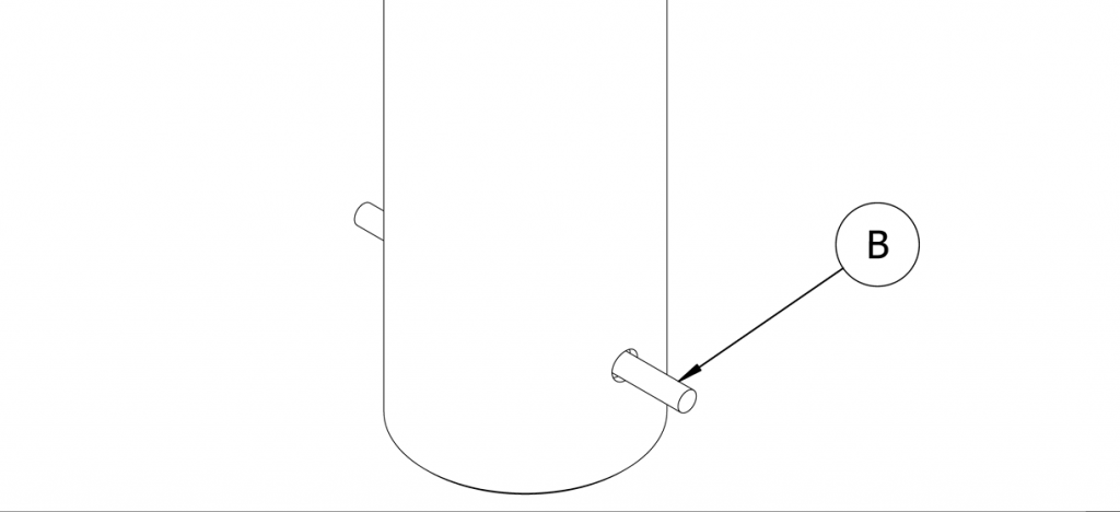 Diagram showing the steel rebar (B) being inserted into the bottom holes of the bollard