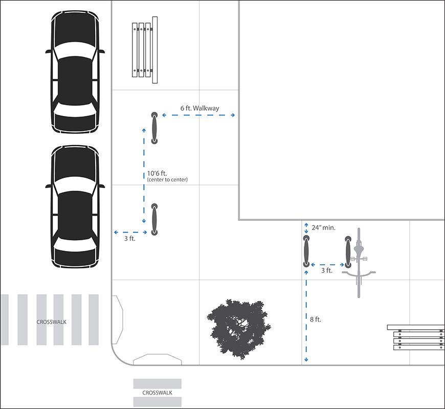 un diagrama mostrando las distancias mínimas para el estacionamiento de bicicletas