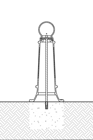 Diagram of decorative bollard installed with anchor castings in new concrete