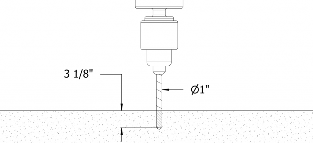 Diagram showing the drill going into the cement with depth control at 3-1/8 inch and 1 inch diameter