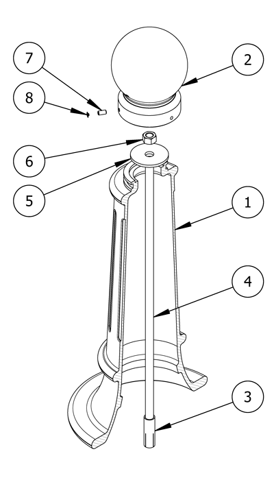 A diagram of parts you will need for installing bollards using drop-in inserts