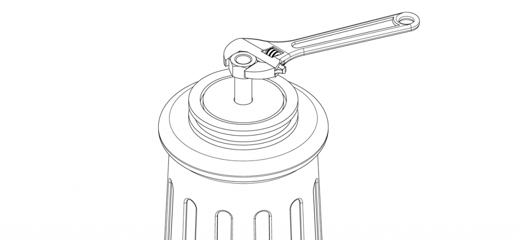 Diagram showing the washer over the threaded rod, and the hex nut being tightened by wrench
