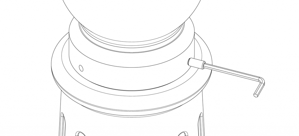 Diagram showing the bollard cap on top of the bollard base with a set screw being tightened with the hex key