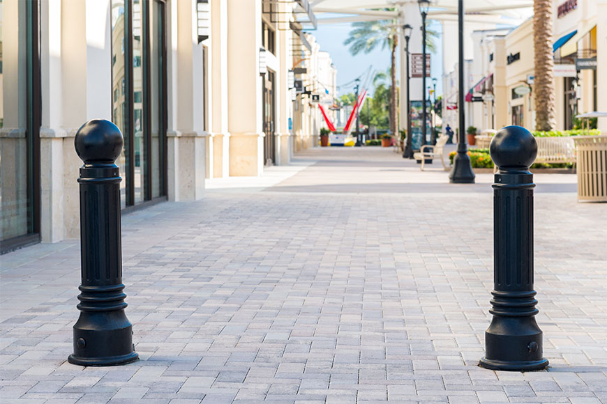 Classic bollards alongside one another at an outlet mall in Florida