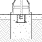 Diagram showing bike bollard installation using concrete form and anchor casting