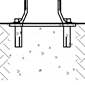 Diagram showing bike bollard installation with flanged surface mounting