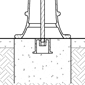 The inside of a below-substrate concrete form and bollard base are show to demonstrate this decoartive bollard installation method.