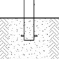 A concrete substrate in which a decorative bollard has been embedded is shown in a computer-generated image.