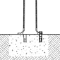 A graphic demonstrates how a decorative bollard with a flanged-base can be surface-mounted to existing concrete surfaces.