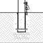 Diagram of removable bike bollard installed using receiver with chain