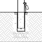 Diagram of removable bike bollard installed using receiver with lid