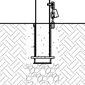 A cross section of a removable bollard is seen with an embedded mount that features a chain.