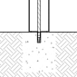 Diagram of a solar bollard installed using drop-in concrete inserts