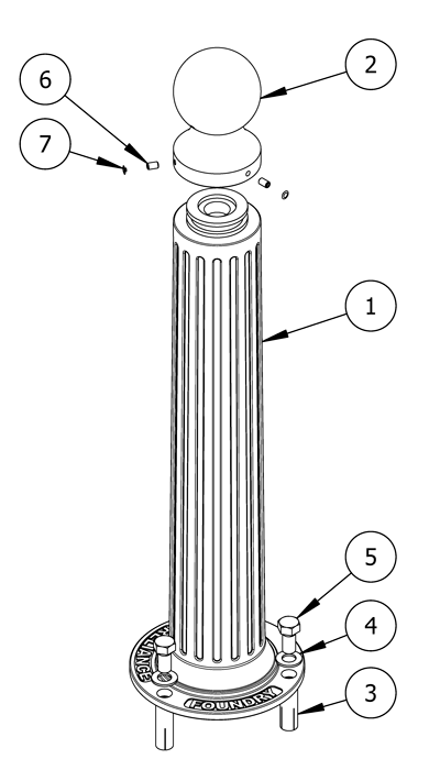 A diagram of parts you will need for installing bollards using flanged surface mountings