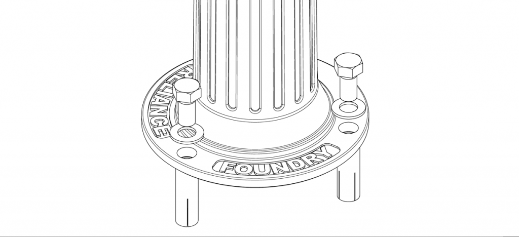 Diagram showing washers over the holes on the bollards and bolts being set into place