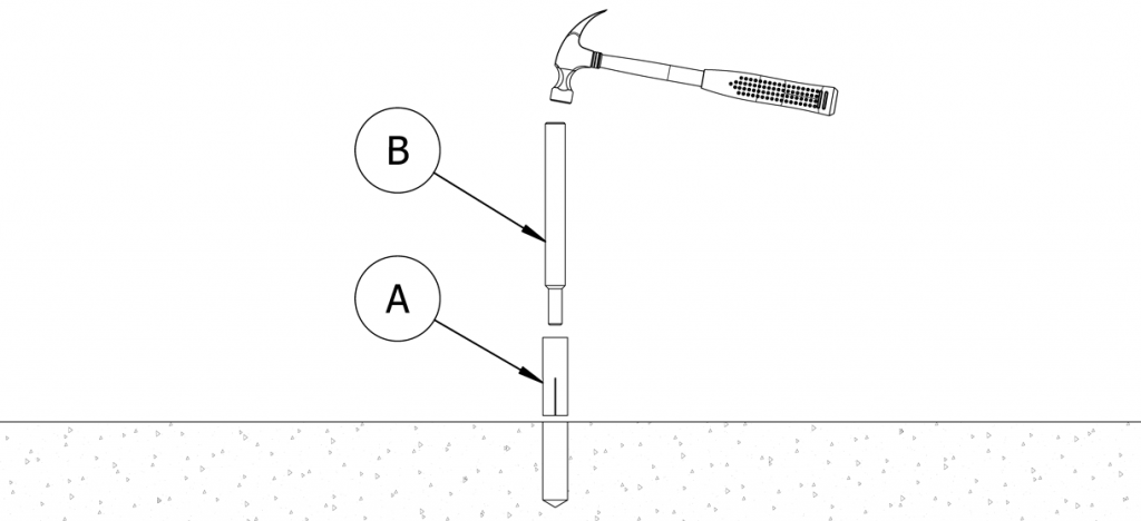 Diagram showing setting the concrete insert, labelled