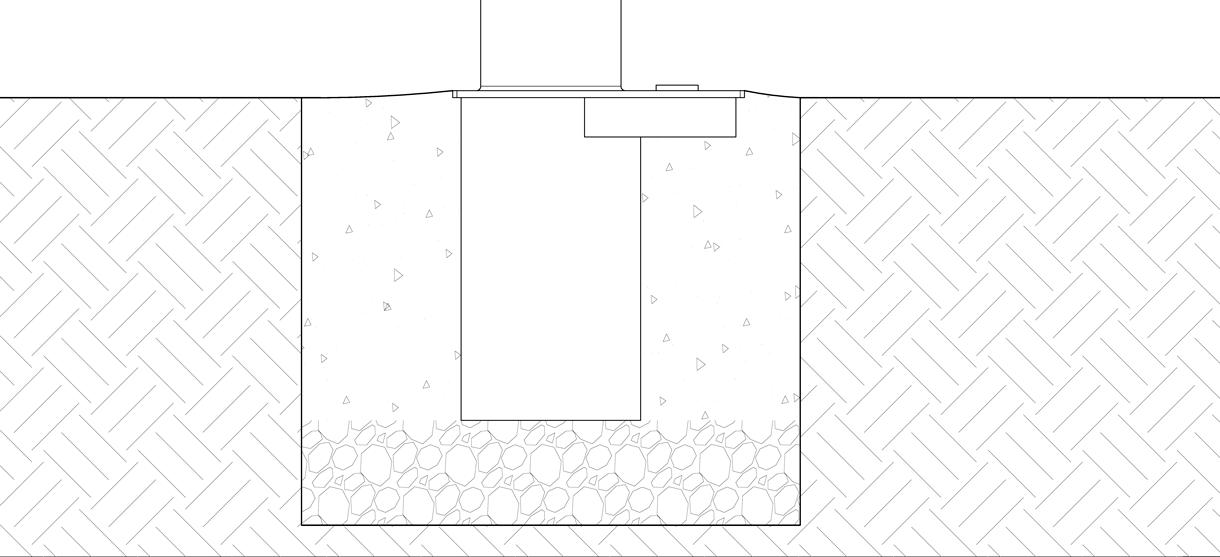 Diagram showing concrete poured around the receiver