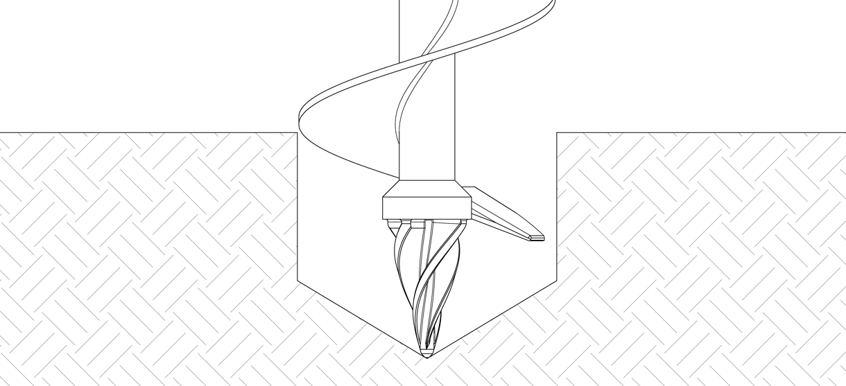 Diagram showing the auger digging a hole to the required depth and diameter