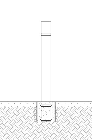 A diagram of a concrete form used to embed a flexible bollard