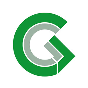 A green logo comprised of two stylized Gs set one inside the other