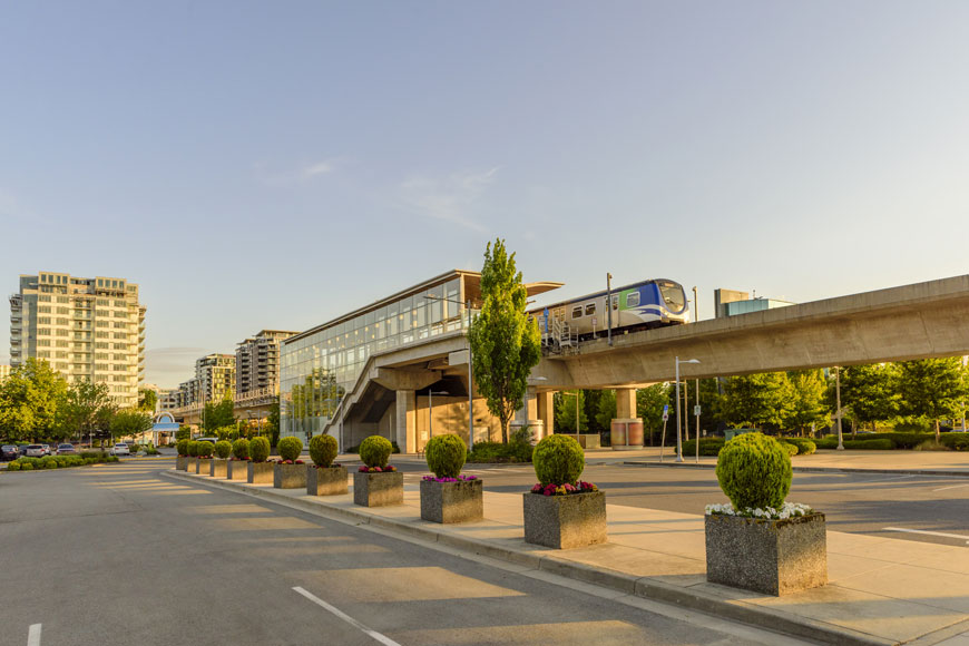 A park and ride location at a train has room for bikes, ride-share, taxis, vehicle parking, and more