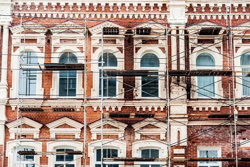 historical building undergoing restoration of façade and interior