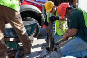 Fenway bollard impact-protective bollard installation into existing concrete