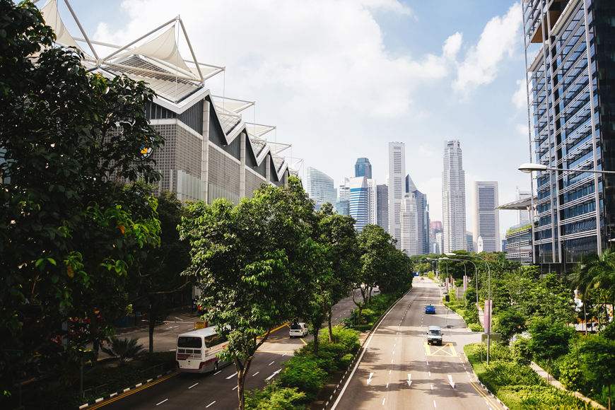 An image of a green, clean future city with large buildings