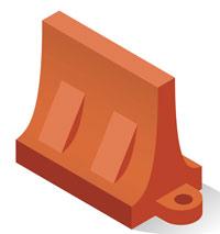 Illustration of a plastic jersey barrier