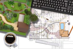 An image of a landscape architect's workspace with coffee and computer