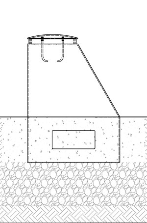 A diagram of a short, thick bollard with a one sloped face being installed in new concrete.
