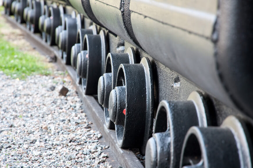 Heavy duty mining cart wheels on a track