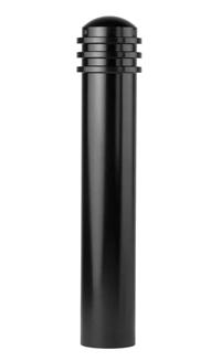 A black steel bollard with three top rings