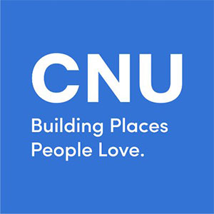 Square logo with CNU, Building Places People Love.