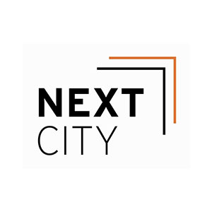 Text based logo with words Next City on dark blue rectangle