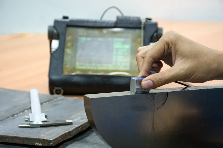 Ultrasonic inspection is a non-destructive testing method to find internal defects