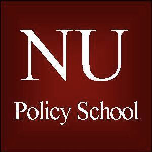 A burgundy square says NU Policy School in white