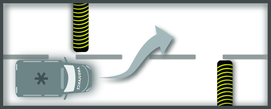 A graphic shows offset speed humps installed in a staggered formation on the road