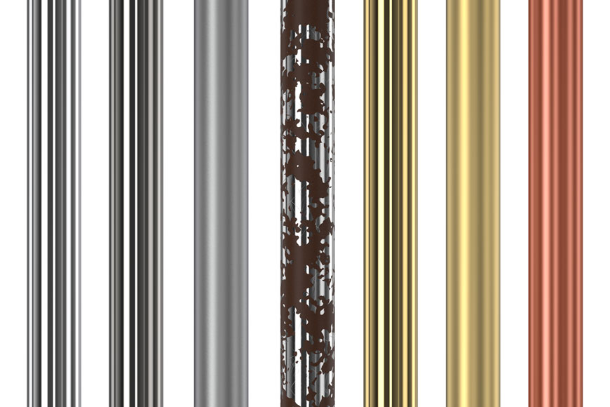 A series of tubes, some electropolished, plated, passivated, or corroding, are shown in a row