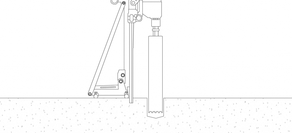 Diagram showing a core drill removing the concrete or asphalt